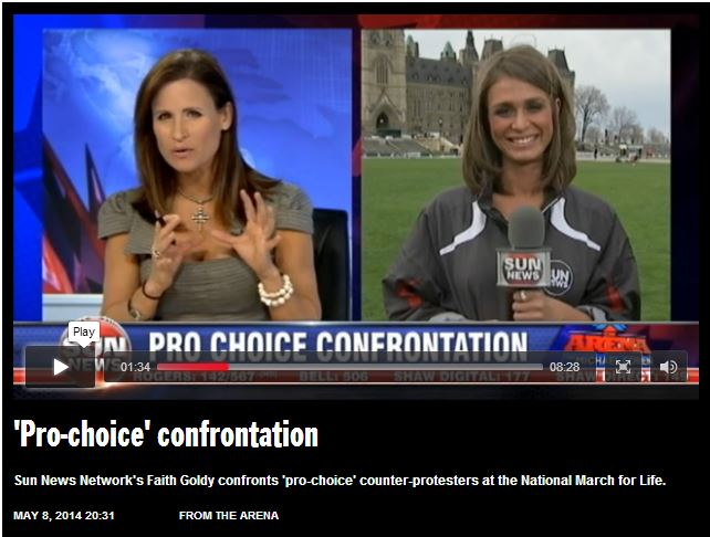 Click to view video of Faith Goldy, Sun News Media coverage of March for Life 2014