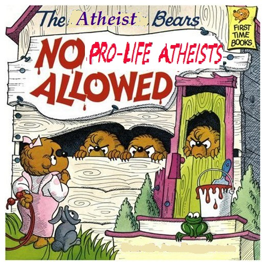 "Berenstain Bears title page ""No Girls Allowed"" modified: No pro-life atheists allowed"
